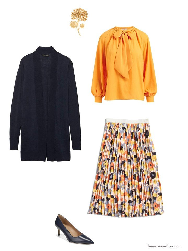 9. wearing a floral skirt with a blouse and cardigan
