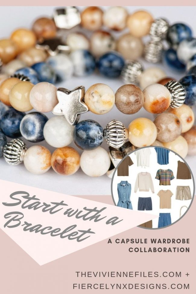 Build a capsule wardrobe by starting with a bracelet. Denim and Gold gemstone bracelet by Fierce Lynx Designs.