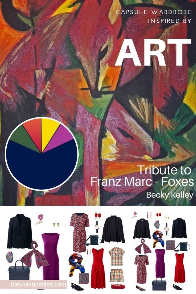 Create a Travel Capsule Wardrobe Inspired by Art: Tribute to Franz Marc – Foxes by Becky Kelley