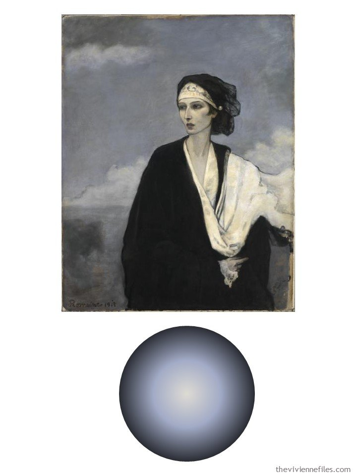 1. Ida Rubenstein by Romaine Brooks with color palette
