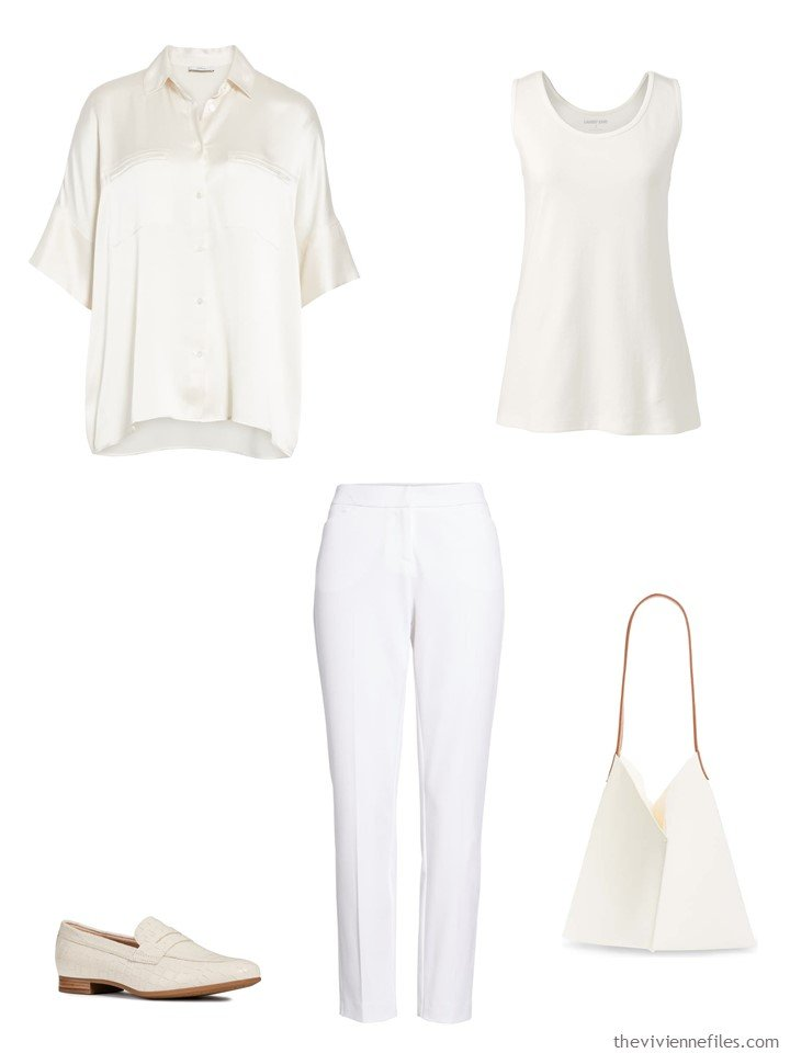 1. outfit in tones of white