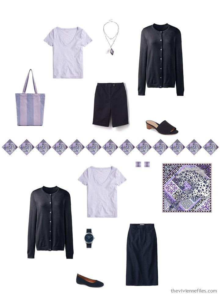 10. 2 ways to wear a lilac tee in a capsule wardrobe