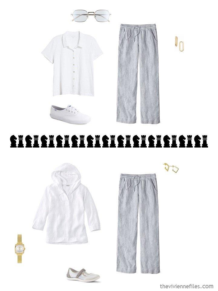 10. 2 ways to wear striped linen pants in a travel capsule wardrobe