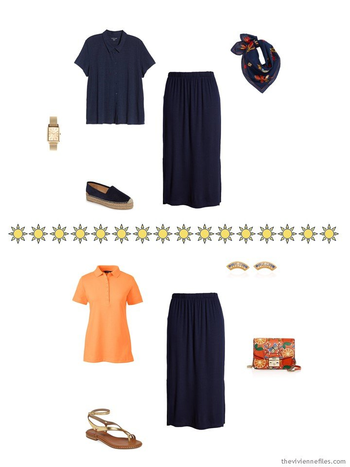 10. 2 ways to wer a navy skirt from a capsule wardrobe
