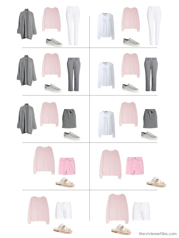 13. 10 ways to wear a pink sweatshirt from a travel capsule wardrobe