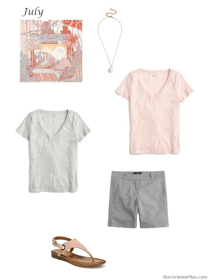 14. adding a blush and grey tee shirt, grey shorts to a capsule wardrobe