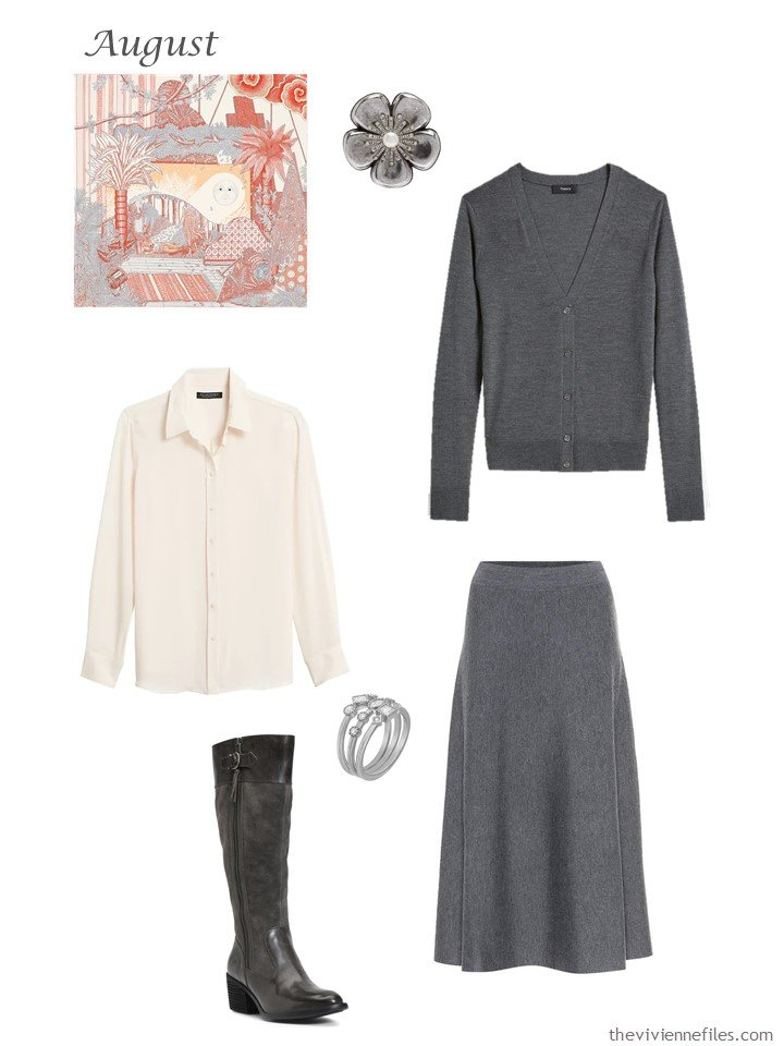 14. grey cardigan and skirt with light blush blouse