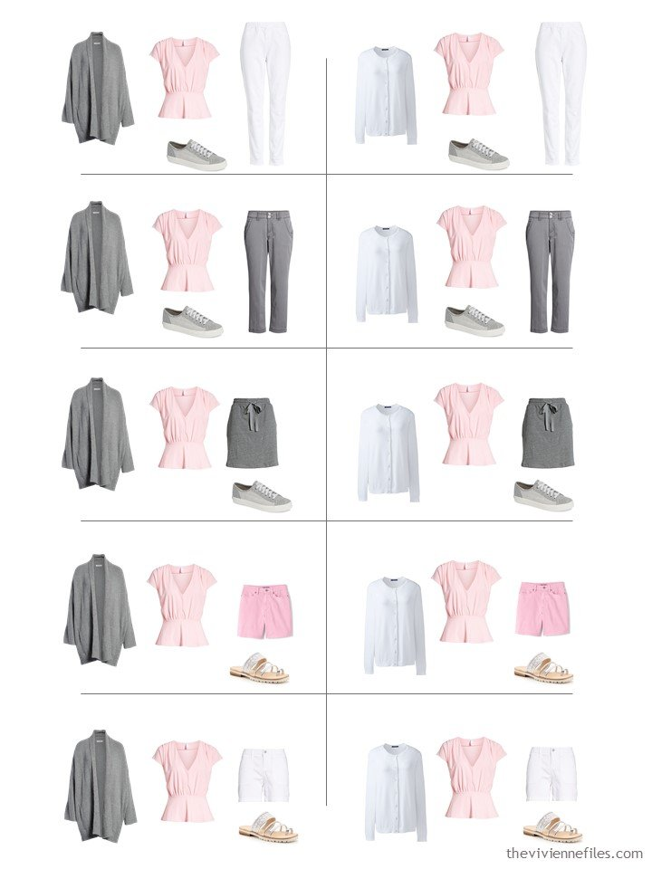 15. 3 ways to wear a pink top from a travel capsule wardrobe