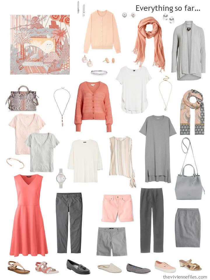 15. capsule wardrobe in grey, ivory and shades of apricot