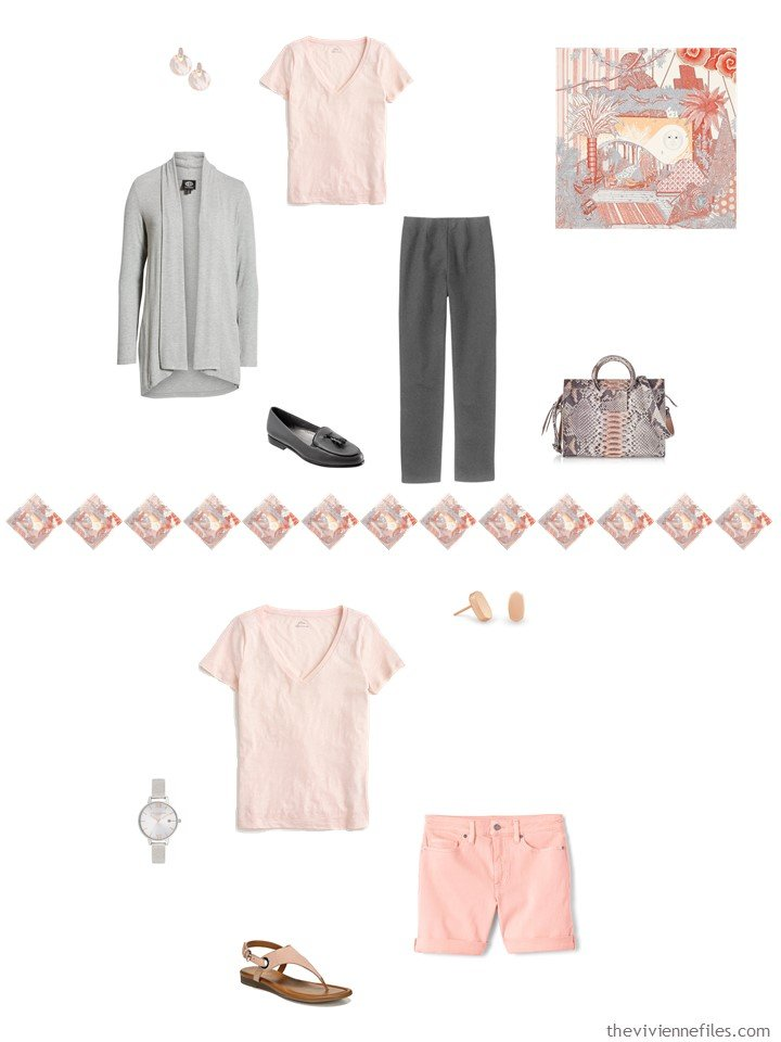 16. 2 ways to wear a blush tee shirt in a capsule wardrobe