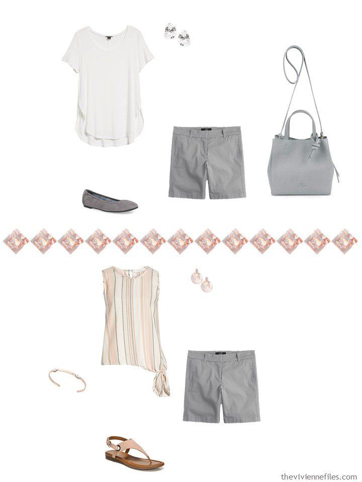 18. 2 ways to wear grey shorts in a capsule wardrobe