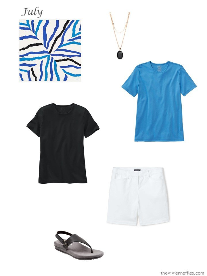 2. adding white short, black tee and blue tee to a capsule wardrobe
