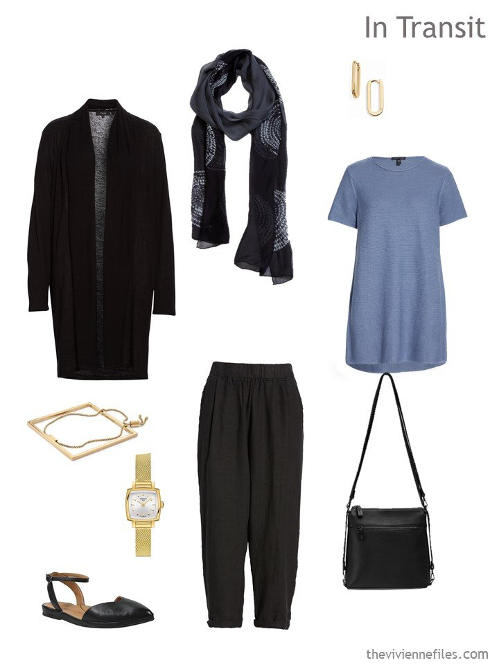 2. black and chambray blue travel outfit