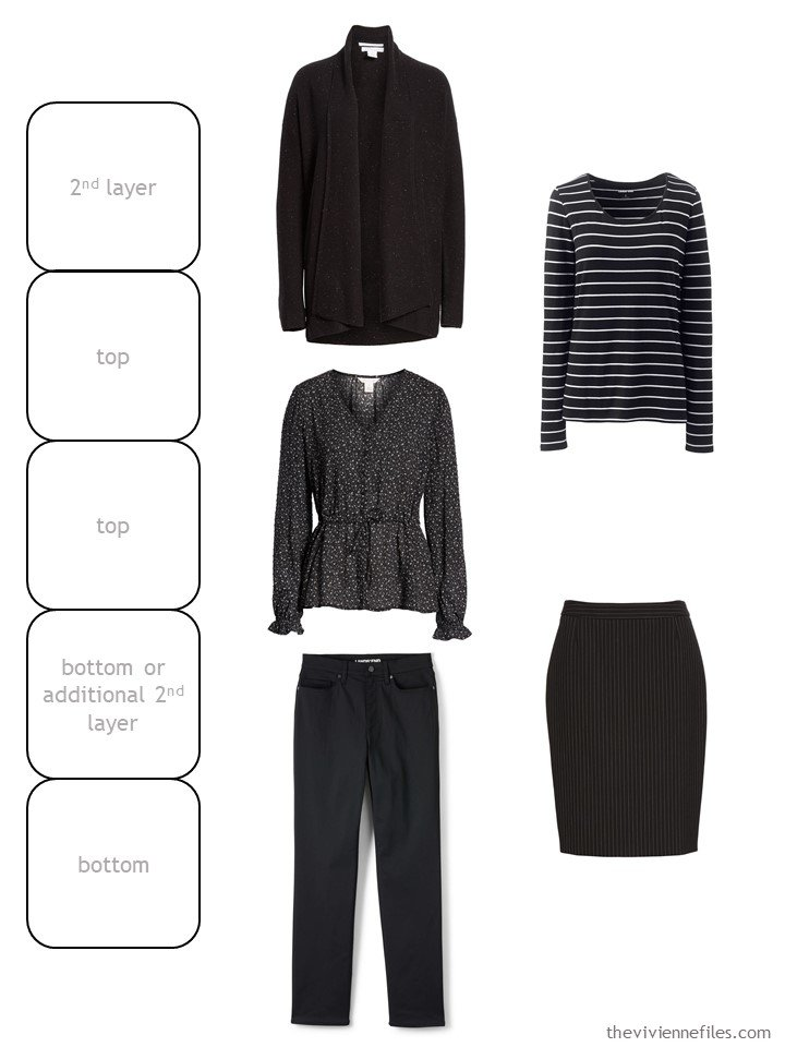 2. black and print wardrobe cluster