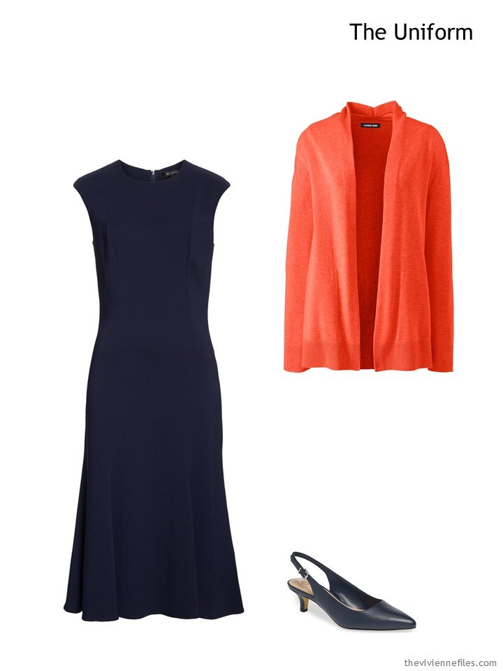 2. navy dress and orange cardigan
