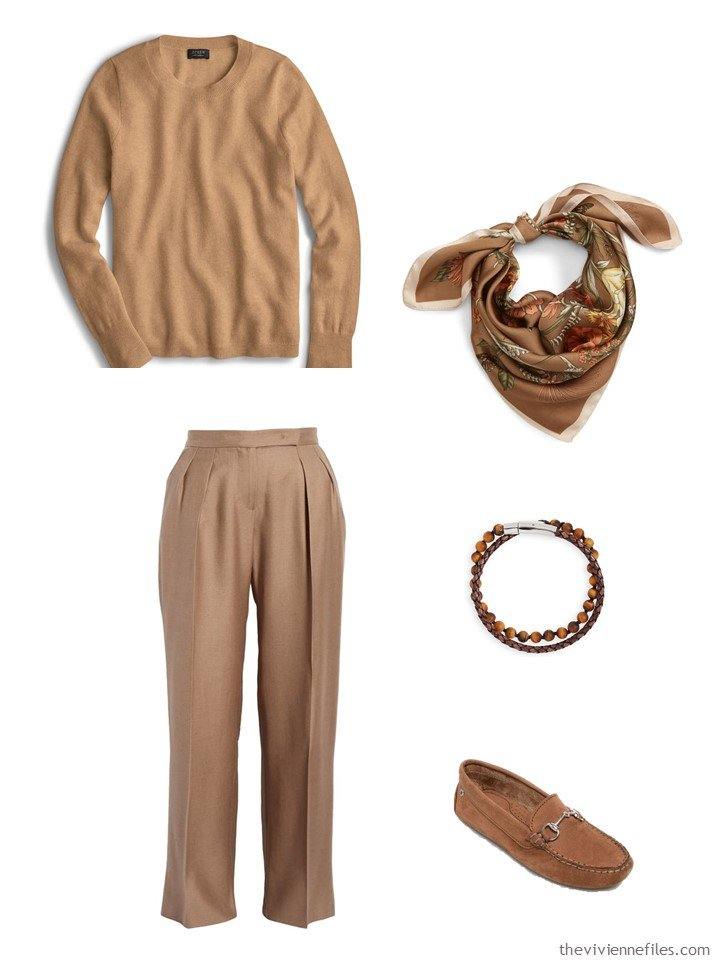2. outfit mixing shades of camel