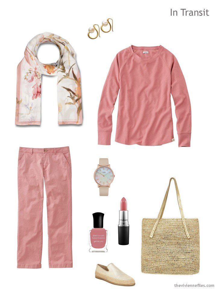 2. travel outfit in dark rose