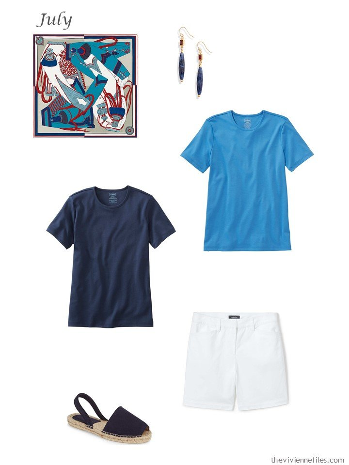 20. adding navy and blue tee shirts, white shorts to a capsule wardrobe
