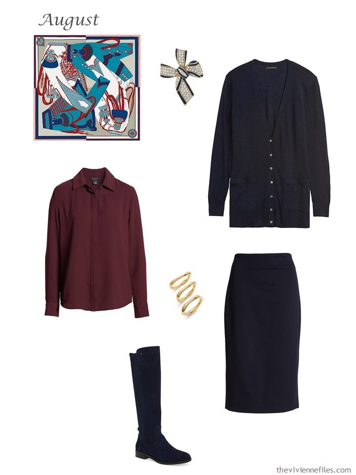 20. navy cardigan and skirt, burgundy blouse
