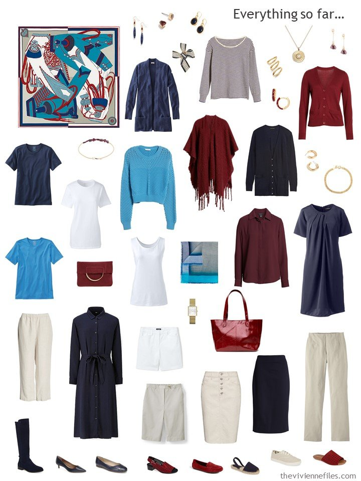 21. beige and navy wardrobe with turquoise and burgundy accents