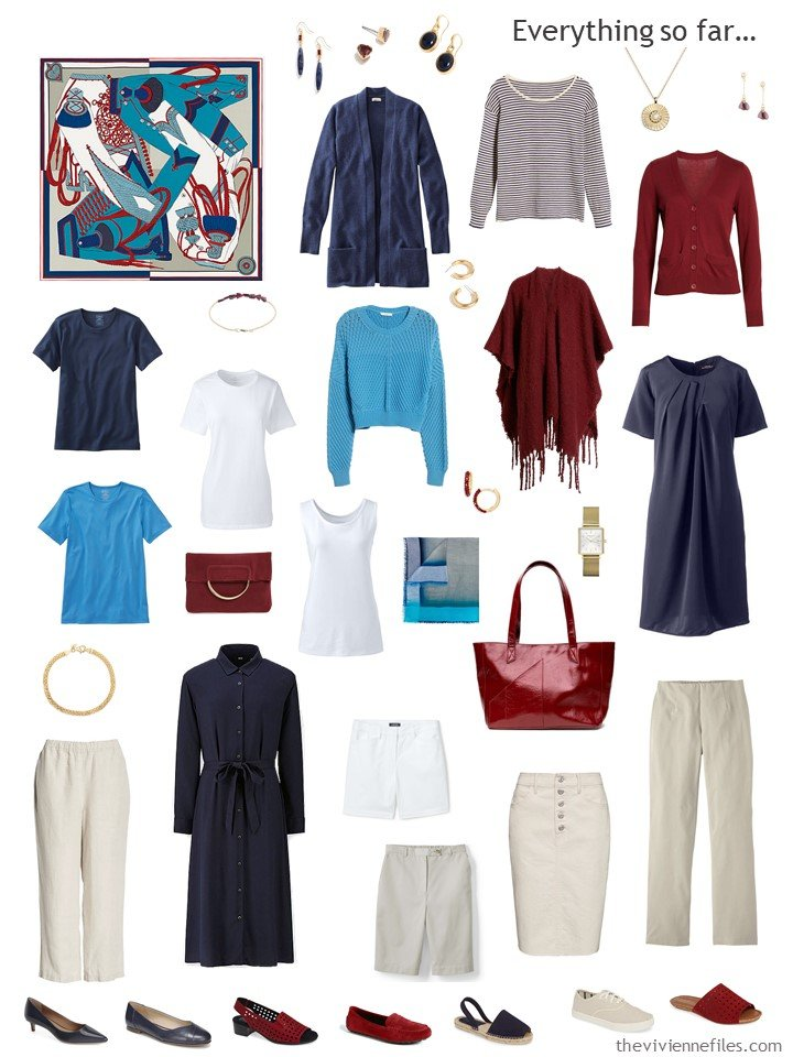 21. capsule wardrobe in navy, beige, white, with blue and red accents