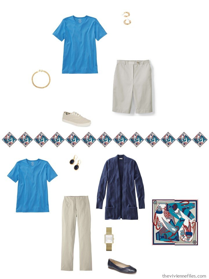 23. 2 ways to wear a turquoise tee shirt in a capsule wardrobe