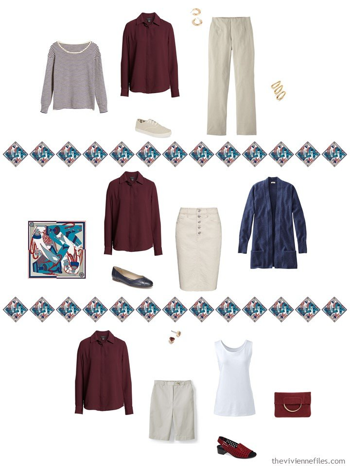 23. adding a burgundy blouse to a capsule wardrobe
