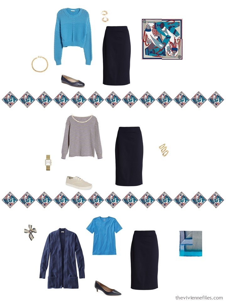 24. adding a navy skirt to a capsule wardrobe