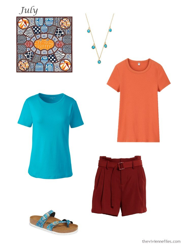 26. adding red shorts, a blue tee and an orange tee to a capsule wardrobe