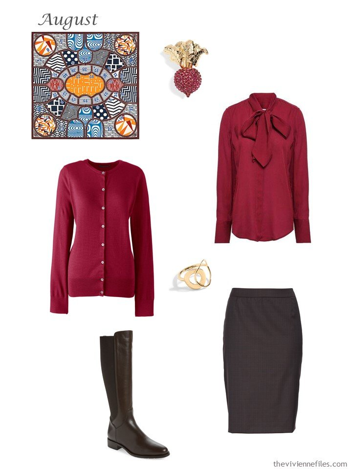 26. red cardigan and blouse with brown skirt