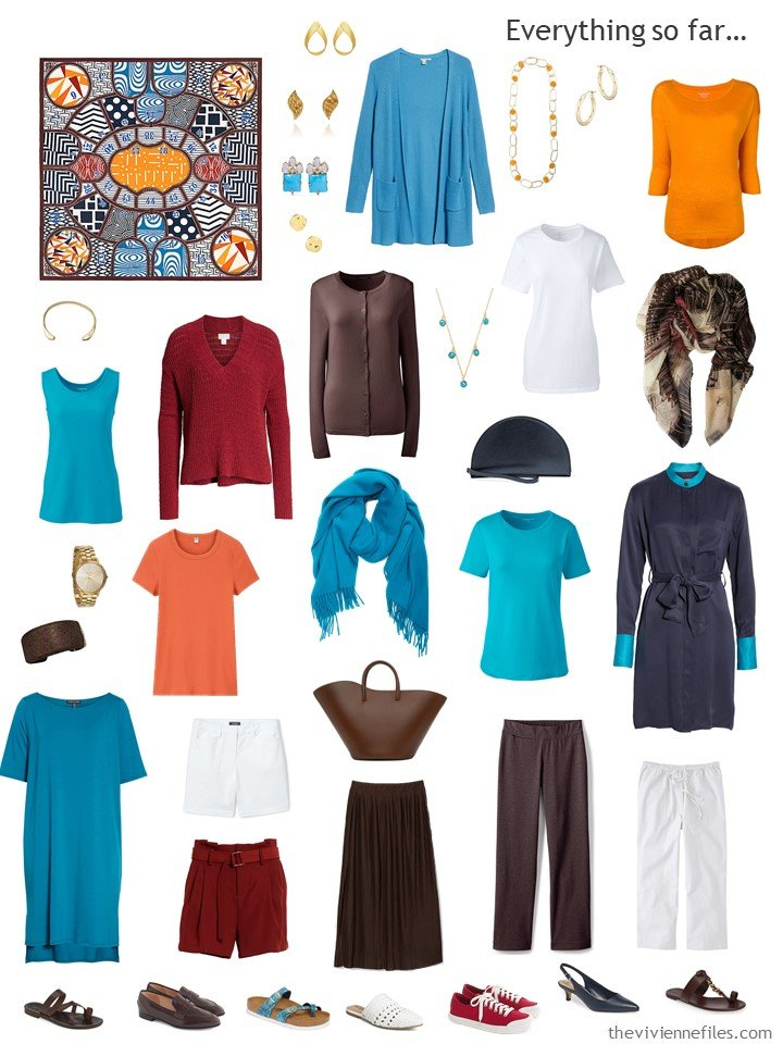 27. capsule wardrobe in brown and white with blue, red and orange accents