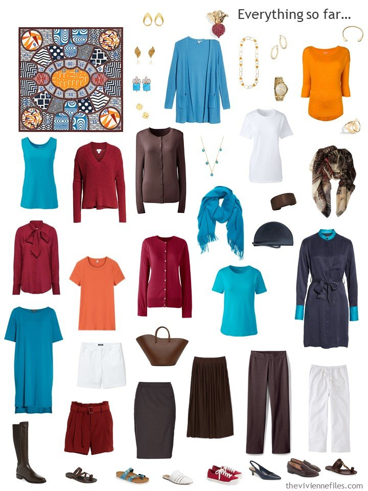 27. capsule wardrobe in brown, white, turquoise, red and orange