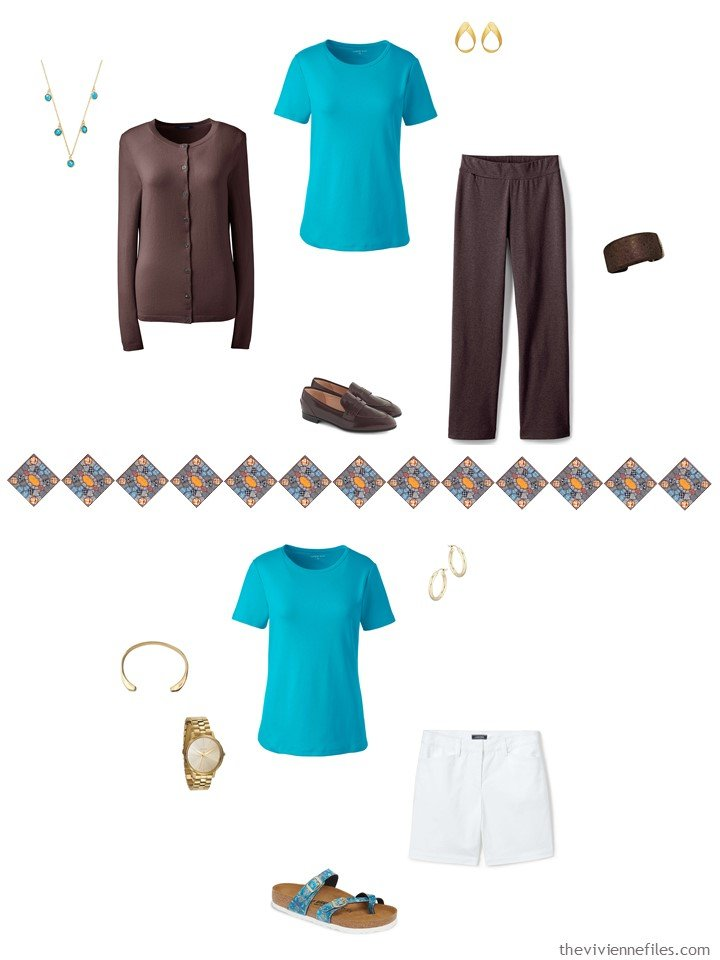 29. 2 ways to wear a turquoise tee in a capsule wardrobe
