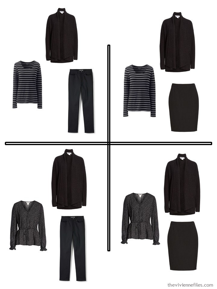 3. 4 outfits from a 5-piece wardrobe cluster in black