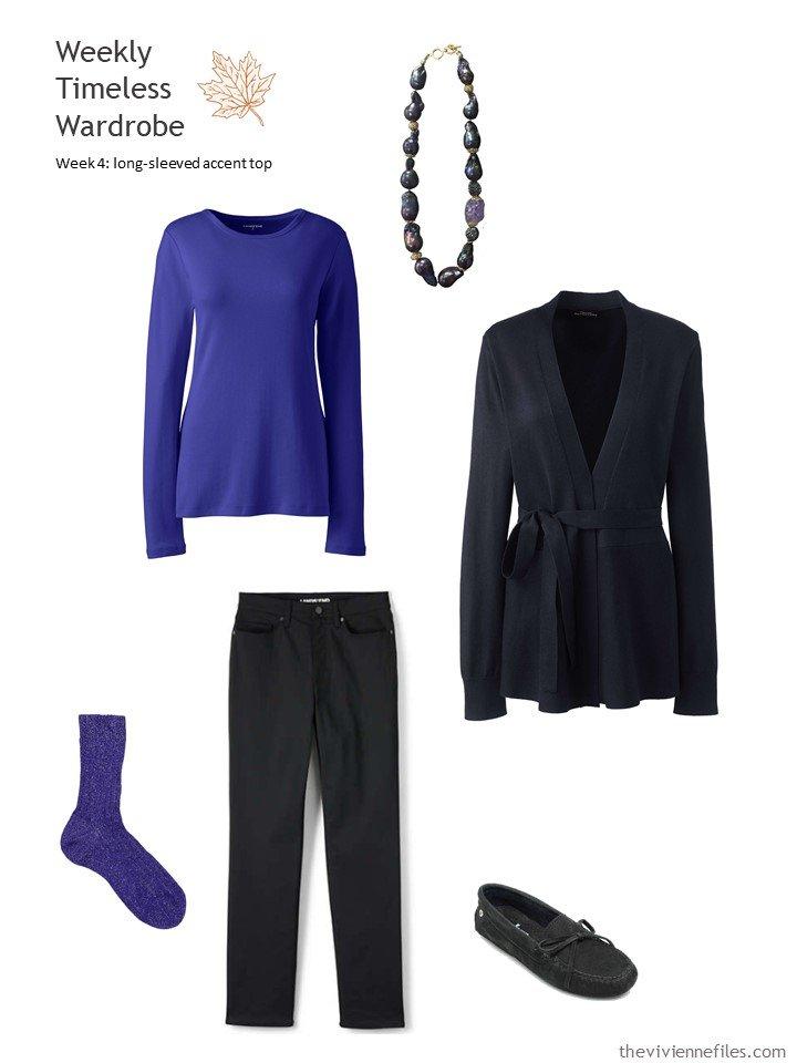 3. Wearing a deep blue purple tee with black