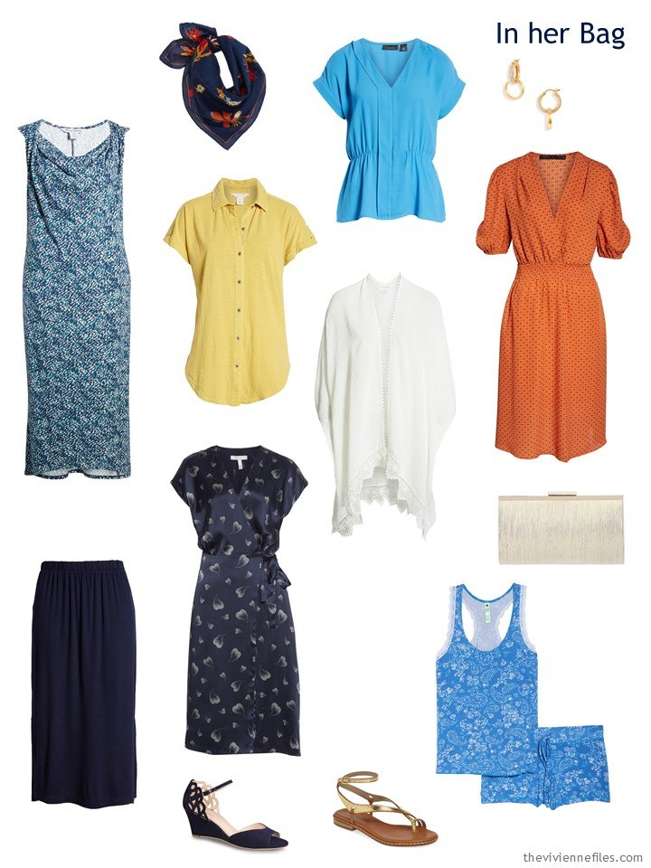 3. additions to a travel capsule wardrobe in navy, yellow, blue and orange
