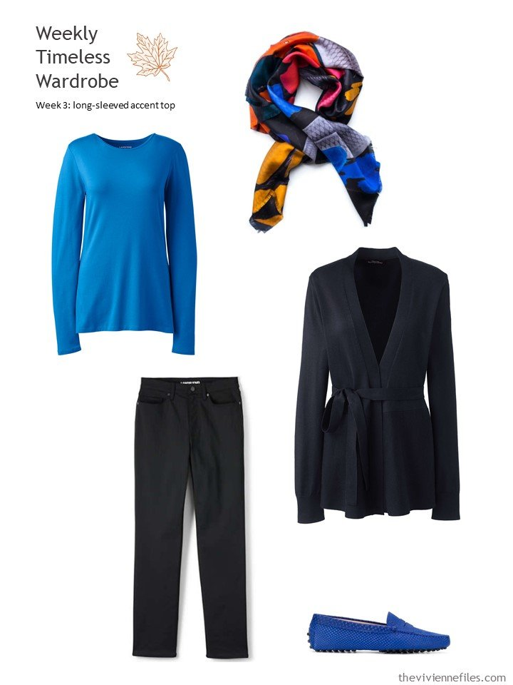 3. black outfit with blue accent top