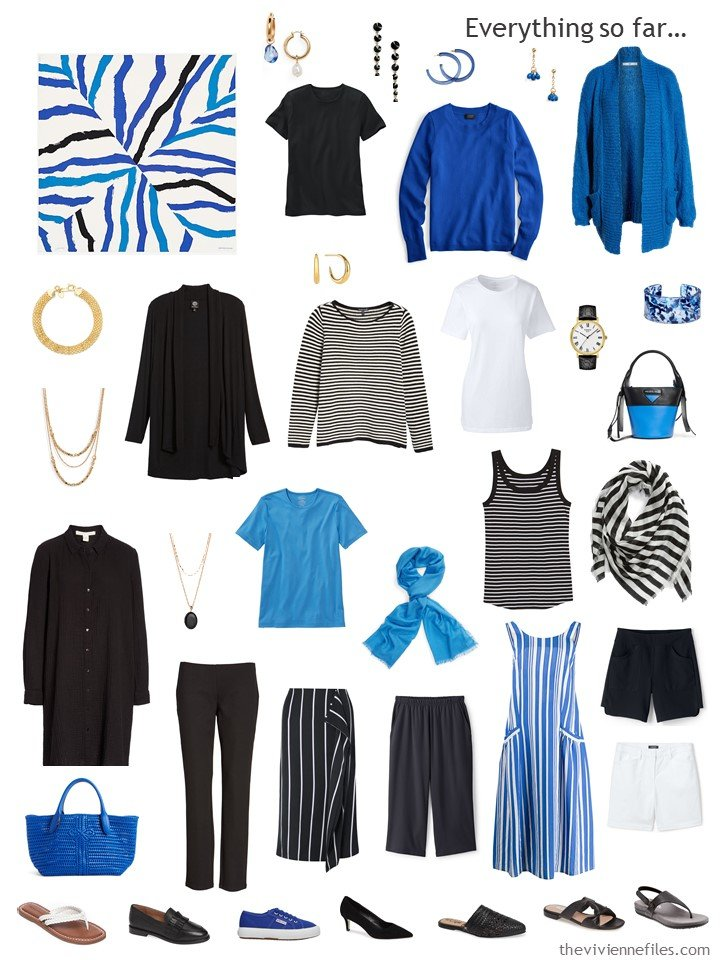 3. capsule wardrobe in black, white and shades of blue