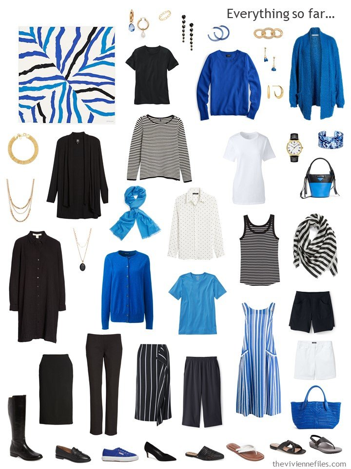 3. capsule wardrobe in black, white and shades of bright blue