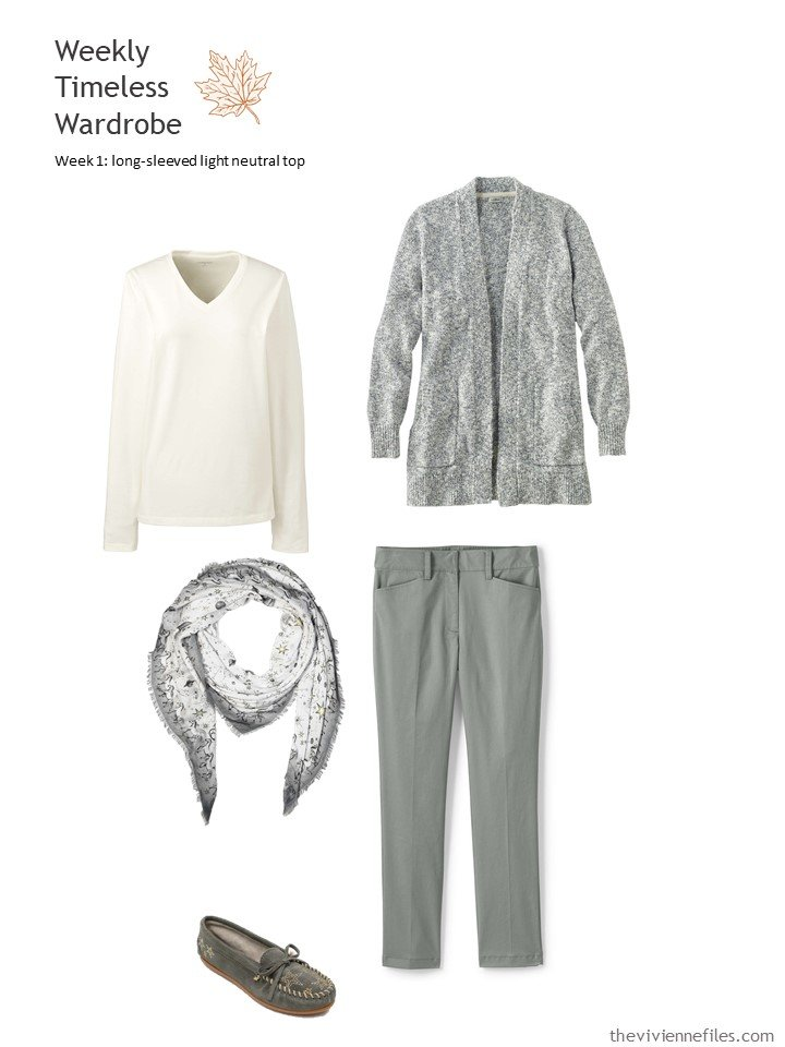3. cream long-sleeved tee with grey green cardigan and pants