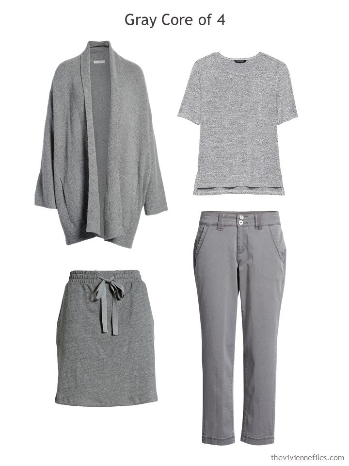3. grey Core of Four for a travel capsule wardrobe