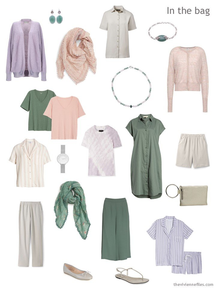 3. travel capsule wardrobe in taupe, rose, moss and lavender