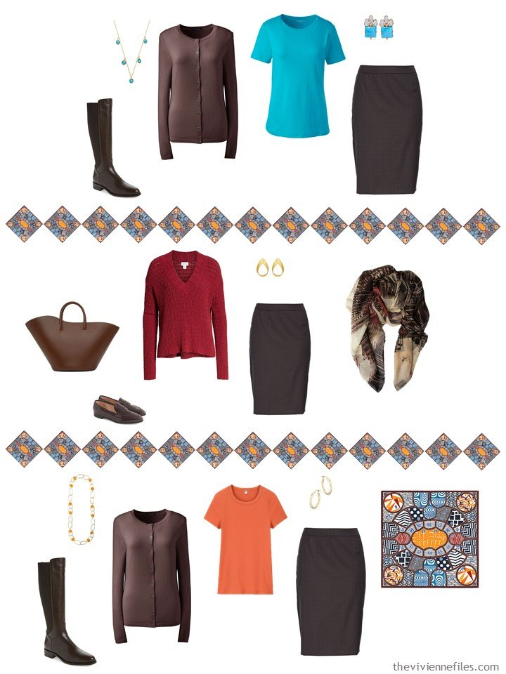 30. adding a brown skirt to a capsule wardrobe