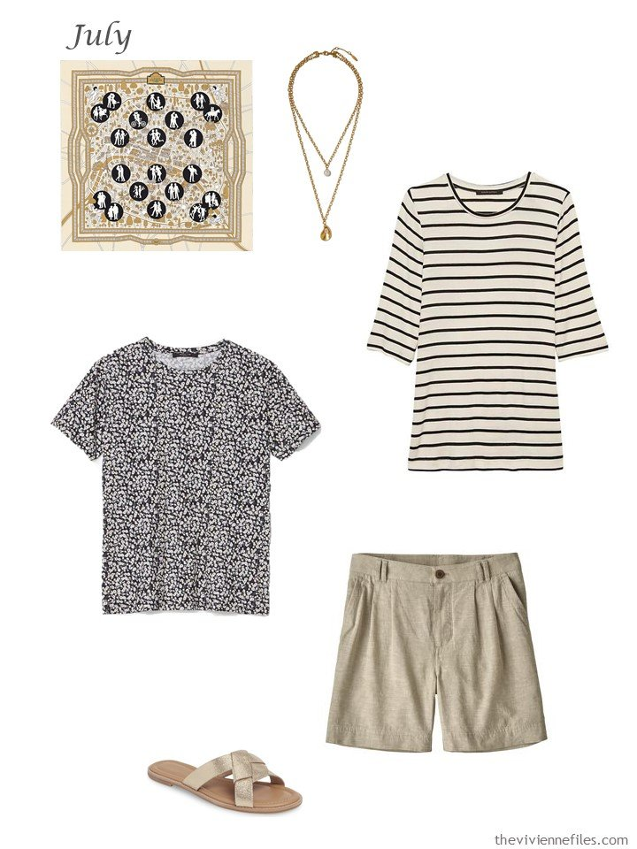 32. adding print tee shirts and tan shorts to a capsule wardrobe