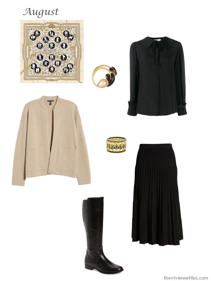 32. beige cardigan, black blouse and skirt