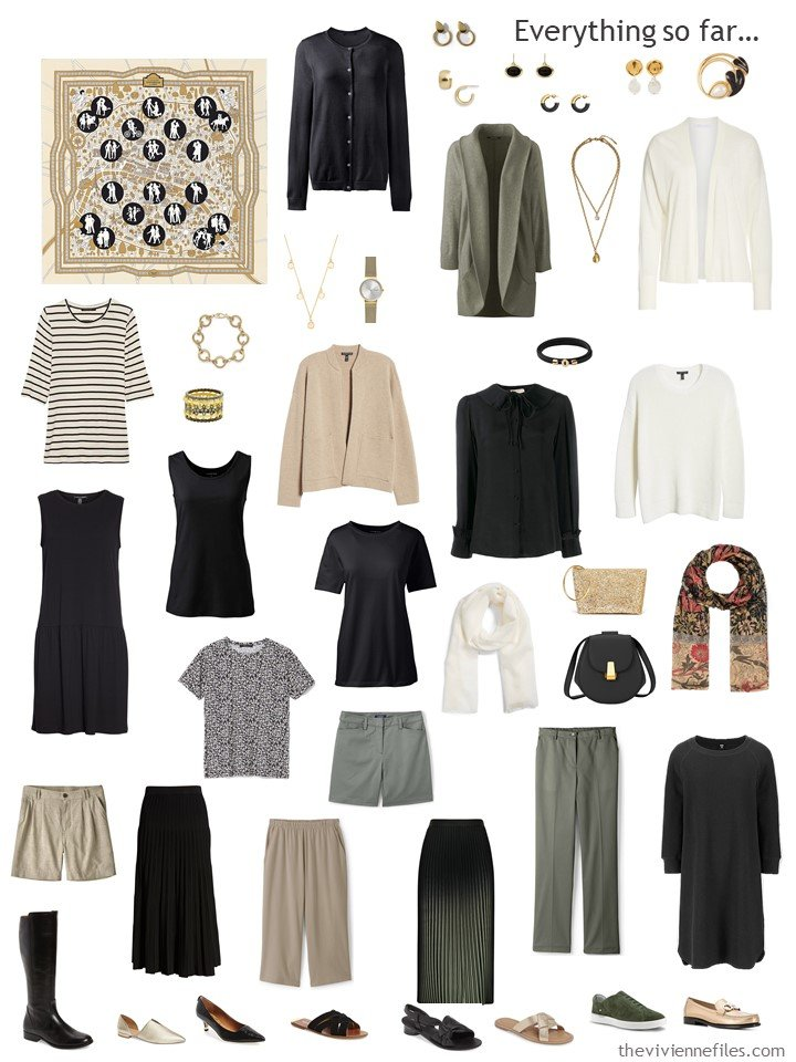 33. capsule wardrobe in black, olive, beige and white