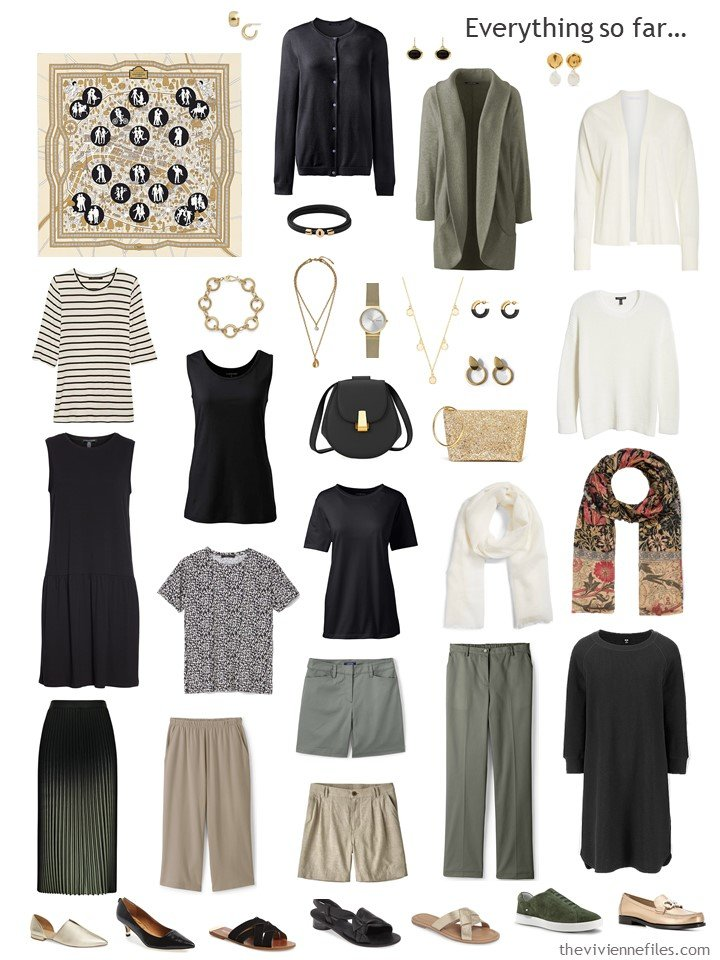 33. capsule wardrobe in olive, black, beige and white