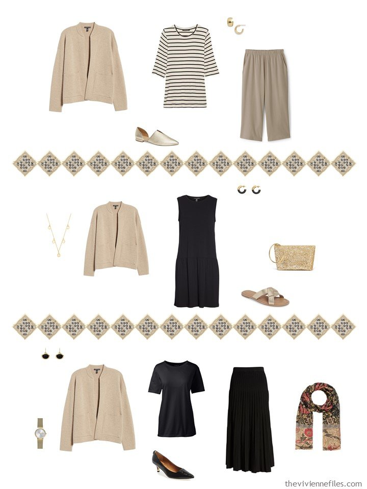 34. adding a beige cardigan to a capsule wardrobe