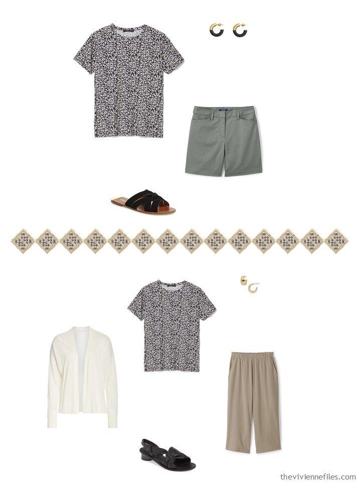 35. 2 ways to wear a print tee in a capsule wardrobe