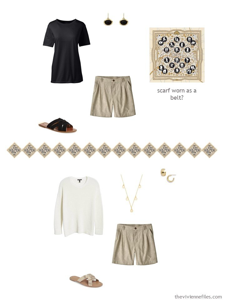 36. 2 ways to wear tan shorts in a capsule wardrobe